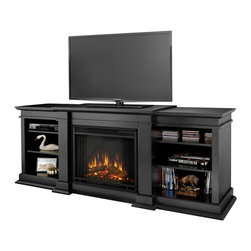 Real Flame - Real Flame Fresno Indoor TV Stand Electric Fireplace in Black - Real Flame - Electric Fireplaces - G1200EB - Enjoy the beauty of a Real Flame Electric fireplace, this substantial freestanding Fireplace also doubles as an entertainment center. Available in dark walnut, black and white, this unit is able to hold a television of 100 lbs or less and has adjustable shelving to accommodate most electronics. The Vivid Flame Electric Firebox plugs into any standard outlet for convenient set up. The features include remote control, programmable thermostat, timer function, brightness settings and ultra bright Vivid Flame LED technology.