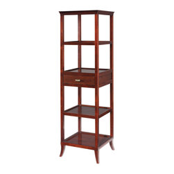 Sterling Industries - Sterling Industries 6041655 Tamara Tower - Cherry - Top Has A Gracefully Curved, Removable Serving Tray. One Functional Drawer And Four Shelves. Diverse Functionality As A Bar Or Room Divider. Fine Cherry Veneer.   Tower (1)