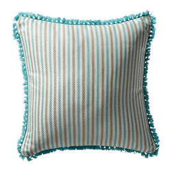 Frontgate - Fairway Stripe Blue Outdoor Pillow - 100% Sunbrella® solution-dyed acrylic fabric. Finished in Aruba eyelash fringe. Resists fading, mold and mildew. High-density polyester fill. Spot clean with mild soap and water; air-dry only. Bursting with welcoming texture and pattern, the Sunbrella Fairway Stripe Aruba Outdoor Pillow will instantly enhance your outdoor setting. Embellished with intricate Aruba eyelash fringe and constructed of all-weather fabric, this exclusive pillow maintains its radiance through seasons of use. 100% Sunbrella solution-dyed acrylic fabric .  .  .  .  . Zipper closure . Made in the USA.