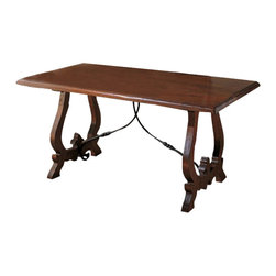 Tuscan Hills - Lira Dining Table - Made in Italy from solid chestnut wood by skilled artisans, dining Tuscan style no longer means having to travel to Tuscany! The hand carved wood base is complimented by a wrought iron scroll typical of the Tuscan countryside.