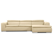 Contemporary Sectional Sofas Hampton Beige Leather Sectional Sofa (L)