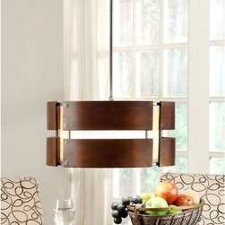 None - Schoolhouse Curved Wood 3-light Medium Walnut Pendant - Add an inspired touch to any room in your home with the Schoolhouse Curved Wood pendant, featuring a medium walnut stain finish. This effulgent fixture also highlights a three-light design and a wood slat shade.