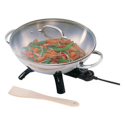 Presto - Stainless Steel Wok - Stainless Steel Work is the quick and easy way to prepare sizzling stir-fry meals! Luxurious Stainless Steel body and handles. Aluminum clad base for even heating. Tempered glass cover with Stainless Steel rim and handle.