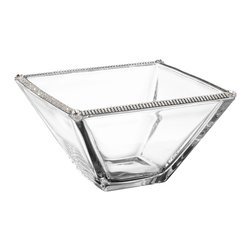 """Alan Lee Collection - Princess Collection 6"""" Square Bowl - A small 6"""" glass square bowl is adorned with hand applied cut crystal accents along the rim. Great for nuts, candies , dips or anything else you can think of."""