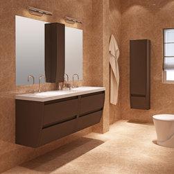 "Flow bath vanity 64 inch. Toffee matt lacquered. - Flow 64"" wall mounted bathroom vanity."
