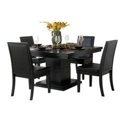 Homelegance - Homelegance Cicero 5-Piece Square Pedestal Dining Room Set in Black - In today s modern home, one looks to enhance each living space with clean lines and unique design. The Cicero collection adds those elements to your casual dining space. The square table top is quartered by parquet veneers and supported by a substantial, break-routed, block pedestal base. The wood chair frames black, baseball-stitched, bi-cast vinyl. The collection is offered in a black finish.