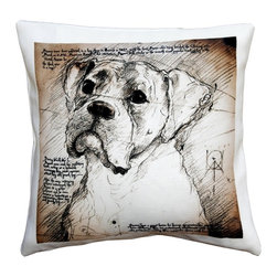 Pillow Decor - Leonardo's Dogs Boxer Dog Pillow - Created in the style of a Leonardo da Vinci sketch, this Boxer dog image is applied to a wonderfully soft and natural feeling indoor/outdoor poly-linen fabric. The Boxer Dog Pillow makes a great gift for anyone who owns and loves this breed. Or incorporate this pillow into your own home to celebrate the unconditional affection that your dog shares with you. A Leonardo's Dogs original.