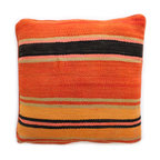 Baba  Souk - Moroccan Pillow, Orange Stripes - While in Marrakesh, I noticed a new trend, these wonderful pillows with colorful candy stripes! While wandering through the souk and visiting the coolest riads, (which are traditional guesthouses usually decorated with great folkloric finds, the hippest places to stay when traveling to Marrakesh) these beautiful pillows with colorful stripes were calling my name!