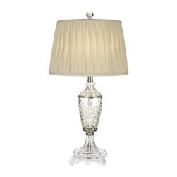 Dale Tiffany - Nickel Table Lamps: 30 in. Norris Satin Nickel Table Lamp GT10226 - Shop for Lighting & Fans at The Home Depot. Our Norris table lamp brings the quality and beauty of hand cut crystal to your home at an easily affordable price. The column is an urn shape which has been heavily faceted in a crosshatch pattern for maximum light refraction. The column also features a flowing reeded base and faceted vase cap. A footed base with an intricate design along with accent bands, all nickel plated beautifully complement the crystal. A crisp white pleated shade directs light downward over the entire lamp, which casts off brilliant glimmers of light. A commanding presence at 30 in height, Norris will be the perfect addition to any decor style in your home for many years to come.
