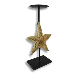 Zeckos - Starfish Pillar Candle Holder Stand - This sea star candle holder will bring thoughts of the ocean to your home while illuminating your space in the soft glow of a flickering pillar candle (not included). The star fish draws your attention in, and has been finished in a lovely light brown and textured just like the starfish you'll find in the waters, and is affixed to a matte black metal stand. This candle holder measures 13 1/4 inches high, 5 3/4 inches long and 3 3/4 inches wide, and would create a lovely accent in an office, on a mantle in the living room, or dressing up a window sill, and would make a wonderful housewarming gift.