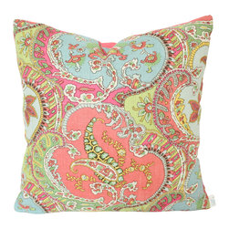 The Pillow Studio - Coral and Blue Pickfair Paisley by Timothy Corrigan - Pillow Cover w/Coral Linen - I love this paisely by Timiothy Corrigan for Schumacher- it is the perfect balance of masculine and feminine design.