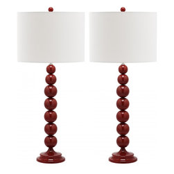 Safavieh - Jenna Stacked Ball Lamp (Set Of 2) LIT4090 - Chinese Red - A classic design with a retro Mid-Century modern vibe, the pillar-shaped Cheryl Crocodile Lamp adds texture and dimension to any room. It features a coffee brown hardback satin shade and a chic faux crocodile body resting on a satin-finish metal base.