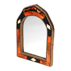 """Moroccan Buzz - 12 Inch Moroccan Henna Bone Mirror - This charming handcrafted mirror is framed with inlaid hand-carved bone accents in a striking combination of henna orange, black and white. Our framed mirrors are decorated with henna-dyed and/or natural bone. Often referred to as """"camel bone mirrors"""", the bone may also be of sheep or cow. Each mirror frame is hand-crafted and may vary slightly from the photo."""