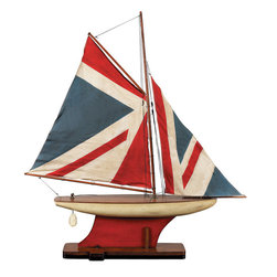 """Inviting Home - Union Jack Pond Yacht - Union Jack pond yacht model; 30-3/4""""x 5-1/2 x 34-3/8""""H Sewn and hand finished sails of this yacht represent cuttings of old nautical country flags and pennants. Pond yacht has inlaid wood strip deck that offers more detail. This yacht model finished with non-toxic paint making it great for a kid's den or bedroom accessory * some assembly required"""