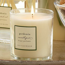 """Homescent Scented Candlepot, Gardenia - Featuring the velvety fragrance of gardenia combined with hints of jasmine, ylang ylang, tuberose and amber, our Homescent Collection comes specially packaged to create a welcome holiday gift. Botanical Pillar: 4"""" diameter x 8"""" high. Candle Pot: 3"""" diameter, 3.5"""" high. Mini Glass Oil Diffuser includes 3 ounces of fragrant oil with eight diffuser sticks. Square Glass Oil Diffuser includes 9.75 ounces of fragrant oil with twelve diffuser sticks."""