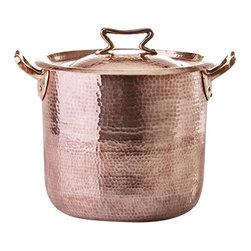 Amoretti Brothers - Amoretti Brothers 10-Quart Copper Stock Pot - Looking for the very finest cookware for your gourmet kitchen? Look no further than this hand-hammered copper stock pot. With a generous 10-quart capacity, this dazzling stock pot is large enough to tackle nearly any kitchen task.