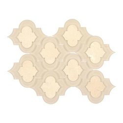 All Marble Tiles - Crema Marfil Marble and Glass Mix Arabesque Tile Mosaic - Crema Marfil Marble and Glass Mix Arabesque Tile Mosaic