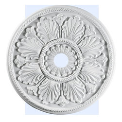 "Inviting Home - Raleigh Ceiling Medallion - ceiling medallion diameter - 30"" depth - 1-1/2"" hole diameter - 4"" large ceiling medallion Raleigh ceiling medallion has radiating leaf motif with beaded and rope trim. Ceiling medallion molded with deep relief design to achieve the highest degree of quality and details. This ceiling medallion is classic reproduction of historical design. Raleigh ceiling medallion come factory primed and is suitable for painting glazing or faux finish. This ceiling medallion giving you look and feel of plaster while it is much easier to install than plaster or gypsum due to the weight dimensional stability precise tolerances and flexibility - you can use ceiling medallion as a decorative ceiling or wall element - ceiling medallion manufactured from high density furniture grade polyurethane - ceiling medallion is water and heat resistant impervious to insect infestation and odor free - center hole on the ceiling medallion is easily drilled or cut with a pen-knife to any dimension - for installation of ceiling medallion use specially formulated ceiling adhesive"