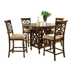Standard Furniture - Standard Furniture Woodmont 5-Piece Counter Height Dining Room Set - Woodmont Features graceful and soft shaping in a clean urban style. Striking lattice accents on chair backs are perfect for today's modern home. Rich design and elegant styling invite a relaxed setting in your home.