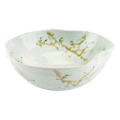 John Richard - John Richard Curled Rim Extra Large Bowl In Greens JRA-9023 - Curled rim extra large porcelain bowl is glazed in greens and yellows.