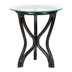 Selamat Designs - Selamat Designs Clove Tertia Side Table - Clove Tertia Side TableSeaside style never looked so sophisticated. This eco-friendly Clove Tertia Side Table by Selamat Designs is crafted from sustainable rattan pole and tempered glass. Tightly wrapped leather joins the rattan poles to create the hourglass shaped base while 3/8' thick onset tempered glass serves as the top. A rich brown clove finish gives this table a simple island-inspired elegance.Made in IndonesiaCertified green by the Sustainable Furnishings Council