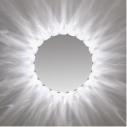 "Marilyn Round Mirror by Edge Lighting - Marilyn 22"" Round radiates light, washing the surrounding wall with a beautiful pattern similar to the glow of the sun. The flourescent version uses six 18 watt E12 compact fluorescent lamps and the krypton version uses six 20 watt E12 krypton lamps."