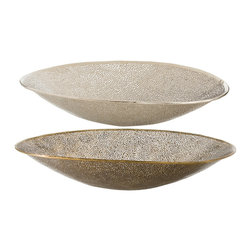 Kathy Kuo Home - Bombay Modern Antique Brass Polished Silver 2 Size Bowls - Set of 2 - We love the polished attitude which comes across in the these Bombay metallic glass bowls. The metallic effect of mercury glass is evoked in a distinct nickel finish, but there's a golden, sun kissed sexiness and a hint of pierced metal happening. The result is an instant dose of the easy glamour typical of Malibu, Punta del Este, and of course, Bombay.  For decorative use only.