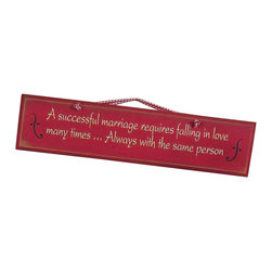 "Sleepy's Signs - Successful Marriage 24"" Antiqued Wood Sign - Customizable  Wood  Decor  Sign          A  successful  marriage  requires  falling  in  love  many  times...Always  with  the  same  person.  This  insightful  wooden  sign  offers  a  warm  sentiment  with  a  vintage  presentation  of  distressed  wood  in  a  colonial  red  finish  with  a  simple  rope  hanger.  Handmade  in  the  USA.  Customize  with  own  phrase  at  no  extra  charge.                  Rustic  Wood  Sign              Rope  Hanger              24  inches  wide  x  7  inches  high  x  3  inches  deep              Made  in  USA              Allow  4-6  weeks  for  shipping"