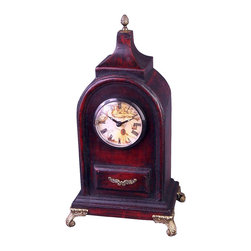 AA Importing - Antique Style Wood Tabletop Clock w Brass Ton - Handsomely crafted in the typical style of a fine antique, this exceptional tabletop clock will impress everyone who sees it.  The graceful dome shape is highlighted by a pinecone finial, and it sits atop scroll style legs that are intricately carved and detailed.  It features a deep rich wood finish and lustrous brass finish accents for a truly authentic design.  What a great gift for anyone who appreciates fine timepieces. Wood construction. 5 in. L x 3 in. W x 13.5 in. H