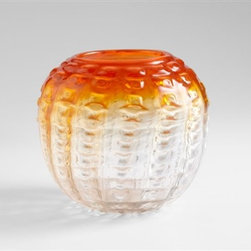 Fire Pod Small Vase by Cyan Design - Intriguing in style and texture, the glass Fire Pod vase brings life to any room with its orange and clear ombre finish.