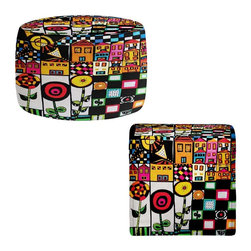 DiaNoche Designs - Ottoman Foot Stool by Dora Ficher - Doodle Day - Lightweight, artistic, bean bag style Ottomans. You now have a unique place to rest your legs or tush after a long day, on this firm, artistic furtniture!  Artist print on all sides. Dye Sublimation printing adheres the ink to the material for long life and durability.  Machine Washable on cold.  Product may vary slightly from image.