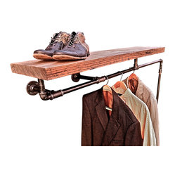 Oilfield Slang - Possum Belly Industrial Pipe Coat Rack - Out of the closet: There's no sense hiding a coat rack and shelf combination that's this handsome and creative. So while you can add a series of them behind closed doors to keep your closet organized, this particular unit makes a striking addition to an entryway or hall as well.