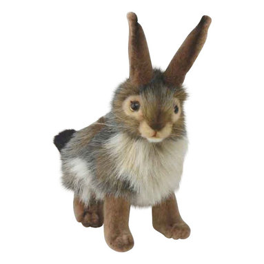 Hansa Toys - Hansa Black Tail Rabbit - So realistic you'll think this rabbit is going to hop out of your screen! This Hansa Rabbit is made from various shades of plush, including brown, white and black. His eyes are dark brown, his ears stand up, and he has whiskers. His tail is black and white.