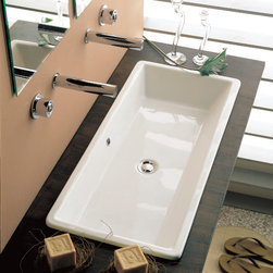 Scarabeo - Rectangular White Ceramic Vessel or Built-In Sink - Contemporary built-in or above counter rectangular white ceramic sink with overflow. Trendy counter top or vanity wash basin with no hole. Made in Italy by Scarabeo. Rectangular ceramic sink. Built-in or above counter with overflow. From the Scarabeo Gaia Collection. Standard drain size of 1.25 inches. The inside of the sink has a width of 27.5 inch and a depth of 10 inch .