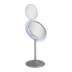"""Zadro - Surround Light Vanity Mirror with Folding Mini Mirror - Features: -Satin nickel finish. -Adjustable height up to 16"""". -Polarized wall plug. -Made in the USA. Specifications: -5X Magnification. -Mini Mirror 7X Magnification . -Includes 22 Watt bulb that produces 100 Watts of fluorescent light. -Mirror Dimensions: 7.25"""". -Folding Mini Mirror Dimensions: 6"""" . -Overall Dimensions: 16"""" H x 9.5"""" W x 7"""" D."""
