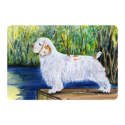 Caroline's Treasures - Clumber Spaniel Kitchen or Bath Mat 24 x 36 - Kitchen or Bath Comfort Floor Mat This mat is 24 inch by 36 inch. Comfort Mat / Carpet / Rug that is Made and Printed in the USA. A foam cushion is attached to the bottom of the mat for comfort when standing. The mat has been permanently dyed for moderate traffic. Durable and fade resistant. The back of the mat is rubber backed to keep the mat from slipping on a smooth floor. Use pressure and water from garden hose or power washer to clean the mat. Vacuuming only with the hard wood floor setting, as to not pull up the knap of the felt. Avoid soap or cleaner that produces suds when cleaning. It will be difficult to get the suds out of the mat.