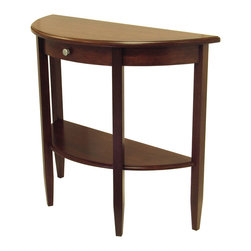 Winsome - Concord Hall / Console Table - Beautiful walnut finish Half Moon Table with tapered legs. Drawer has satin nickel knob, shelf for storing dcor. Match with Coffee Table# 94231,End Table # 94217, Small Half Moom Hall Table#94132 as colleciton.