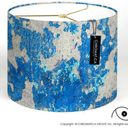 Chromatica Group, Inc. - Drum Lamp Shade - Wall Textures - The design of this lampshade is a close-up photograph of different layers of paint coming off a wall. It was taken in La Parguera, South of Puerto Rico.