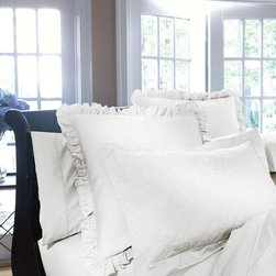 Home Decorators Collection - Home Decorators Collection Ruffle Edge Sham - Our elegant Home Decorators Collection Ruffled Edge Shams are made of 100% cotton sateen with a 600 thread count. The ruffled flange adds a softer look that works well with a variety of design styles. Order today. Available in a variety of colors. Ruffled flanged edge design. Monogramming available; please allow three weeks for receipt of monogrammed items.