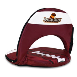 Picnic Time - Bowling Green State University Oniva Seat Sport Recreational Reclining Seat - Football fans will love this recreational reclining seat that's so lightweight and portable. The Oniva Seat Sport has an adjustable shoulder strap and six adjustable positions for reclining. The seat cover is made of brown polyester and has been designed so that the entire seat looks like a larger than life football! The bottom of the seat is black dimpled PVC so as not to soil easily, the frame is steel, and the seat is cushioned with high-density PU foam, which provides hours of comfortable sitting. The Oniva Sport - Football is great for the beach, the park, or as an indoor gaming seat and makes the perfect gift for fans of the great sport Americans call football!; College Name: Bowling Green State University; Mascot: Falcons; Decoration: Digital Print