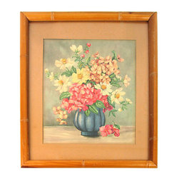 1950s Offset Lithograph Floral Print in Bamboo-Style Frame - Offset litho on paper print of a floral bouquet in gourd shaped vase. Displayed in bamboo-style wood frame and wood grain mat.
