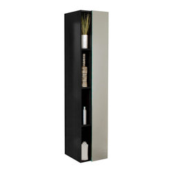 "Fresca - Black Bathroom Linen Cabinet with Cubby Holes - This side cabinet comes with a Black finish.  It features 4 narrow cubby holes and a mirror on its soft closing cabinet door. Dimensions: 15.75""W X 67""H X 12""D; Features: 1 Door, 4 Cubby Holes; Soft Closing Mirror Door; Finish: Black; Hardware: Chrome; Assembly: Fully Assembled"