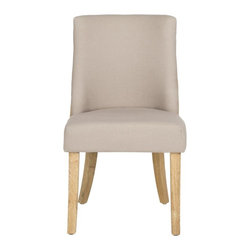 Safavieh - Augustin Side Chair - Beautiful from any angle, the Augustin side chair sports contrasting fabrics, with taupe linen upholstered front and beige jute-covered back. With plush seat cushion and curved back with flat black nail head detailing, Augustin envelopes your guests in style.  Legs are pickled oak.