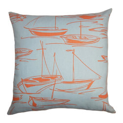 The Pillow Collection - Gamboola Nautical Pillow Orange Blue - Reinvent your decor style the quick and easy way by adding this stylish throw pillow. This nautical accent pillow features a sea-inspired print with a playful color palette with  shades of coral pink and blue. This square pillow offers the perfect finishing touch to your living room or bedroom this summer. Made of 100% plush and long-lasting cotton material. Hidden zipper closure for easy cover removal.  Knife edge finish on all four sides.  Reversible pillow with the same fabric on the back side.  Spot cleaning suggested.