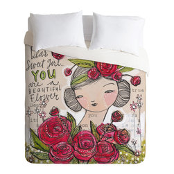 """DENY Designs - Cori Dantini Dear Sweet Girl Queen Duvet Cover - Every girl deserves to rest on a bed of roses. Cori Dantini's whimsical duvet cover print wants to crown you with red blooms of happiness and remind you every day that """"you are a beautiful flower."""" An uplifting and expressive centerpiece, it's a great foundation for crafting your own creative and personal bedroom style."""