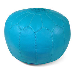 Handmade - Ottoman, Turquoise Pouf Ottoman - Add glitz and glamour to your living room or any space with this functional ottoman and furnishing accent.  We are sure it will be the most popular seat or footrest in the house!