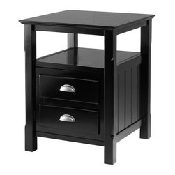 Winsome Wood - Timber 2 Drawer Nightstand in Black Finish - Open shelf for your books and magazine. 2 Drawers with metal handles for easy opening to storage your night time goodies. Unique design and functional for your bedtime need. Constructed of solid and composite wood. Assembly required. 20 in. L x 20 in. W x 25 in. HAttractive nightstand with great detailing is a perfect addition to your bedroom.