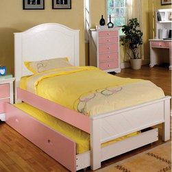 Hokku Designs - Aila Twin Panel Bed - Always fun, and incredibly safe, the Aila bed set gives your kids a space they'll love for years to come. Featuring a panel headboard and solid wood construction, bedroom furniture is a stylish sleeping space for any tot or teen. Features: -Aila collection. -Combination of pink and white finish. -Materials: Solid wood and wood veneer. -Arched headboard with two tone finish. -Low profile footboard. -Comes with mortise and tenon joinery. -Assembly required.