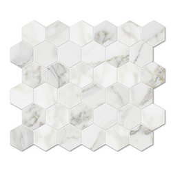 marblesystems - Calacatta Gold Polished Hexagon Marble Mosaics - Natural marble mosaic tile that can be used on floors and walls. Made in Italy.
