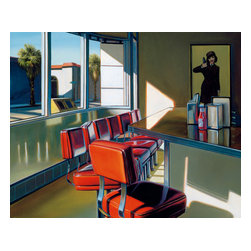 Artworks Fine Art Publishing - 'Melrose at 10' Glenn Ness Giclée Print - Glenn Ness turns an ordinary scene into the extraordinary. This limited edition giclée print of a realistic sunlit diner tempts you to sit right down and order a burger and a cherry soda.